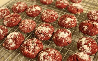 Red Velvet Ooey, Gooey Crinkle Cookies